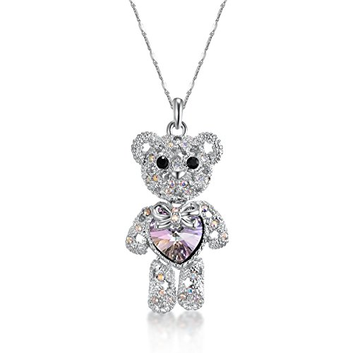 ZIOZIA Teddy Bear Necklace for Women Made with Pink Swarovski Crystal Pendant Kids Jewelry for Girls Birthday Gifts for Daughter and Granddaught