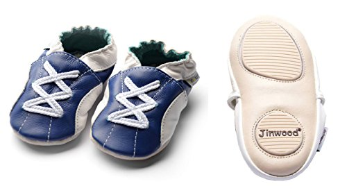 Jinwood designed by amsomo - Patucos de Piel para niña sport navy mini shoes