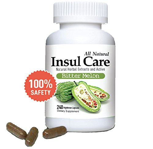 Insul Care Bitter Melon All Natural Dietary Supplement 240 Capsules, Lower Blood Sugar Level, Diabetes, Cholesterol, High Blood Pressure And Weight Management Aid, 500mg Per Serving, Made in USA