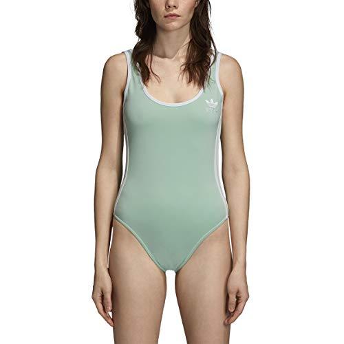 adidas Women's Originals 3 Stripes Body Suit Blush Green dn8144 (Size S)