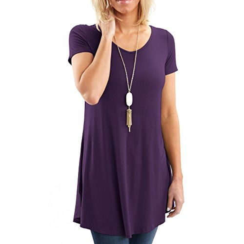 Simply Short Sleeve Top - Posh Women's Short Sleeve V-Neck Tunic with Flare Style Hem - Super Soft Loose Fit T-Shirt Tunic Top, Perfect Casual Blouse for Leggings & Jeans- Small - Dark Purple