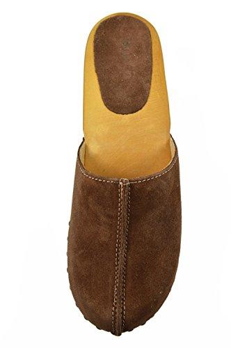 Buxa Zuecos de Ante para Mujer con Tacón Alto de Madera Marrón