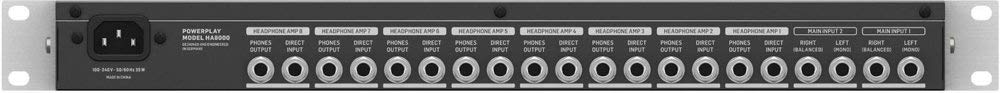 Powerplay HA8000 V2 8-Channel Headphone Mixing /& Distribution Amp