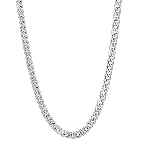 3mm Rhodium Plated Flat Cuban Link Curb Chain Necklace, 16