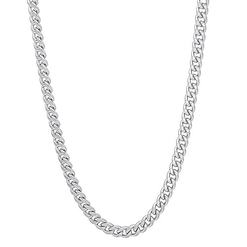 (The Bling Factory 3mm Rhodium Plated Flat Cuban Link Curb Chain Necklace, 22)