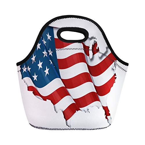 Semtomn Lunch Bags Red White American Us Flag Map Inner Shadow Blue Neoprene Lunch Bag Lunchbox Tote Bag Portable Picnic Bag Cooler Bag