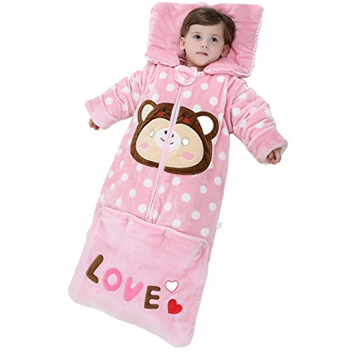 OuYun Baby Early Walker Sleeping Bag Detachable Sleeves Wearable Blanket, Large(95cm),130 Filling Pine - Pine Kids Sleeping Bag