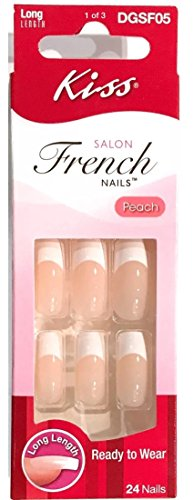 Kiss Salon French Long Length Nails 24 in Pack, 1 Pack by Kiss