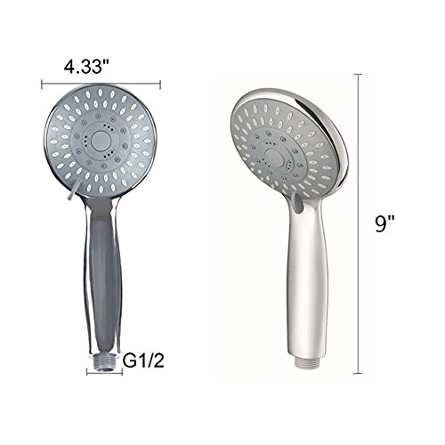 Basong Stainless Steel High Pressure 5 Function Pulse-SPA Series Luxury Handheld Shower Head with Flexible 59'' Hose Easy Installation,Chrome Finish,Water Saving by Basong (Image #1)