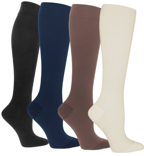 Compression Socks | Womens Black/Navy/Brown/Pearl Assorted Stockings | 15-20 -