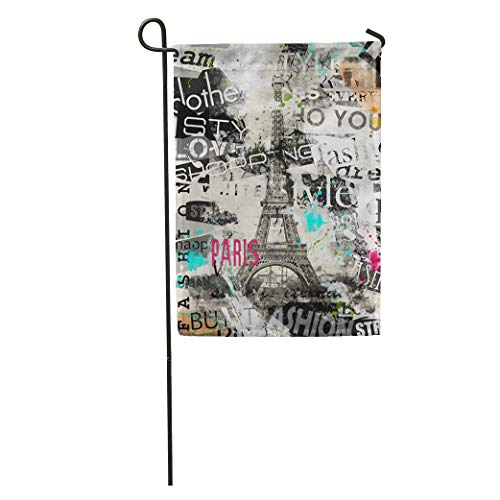 Semtomn Garden Flag Romantic Paris France Vintage Eiffel Tower La Tour in Album Home Yard House Decor Barnner Outdoor Stand 28x40 Inches Flag