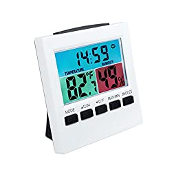 EWTTO Digital Small Travel Alarm Clock with Colorful LCD Display Humidity Temperature Date Snooze for Travel Bedroom Kitchen Office