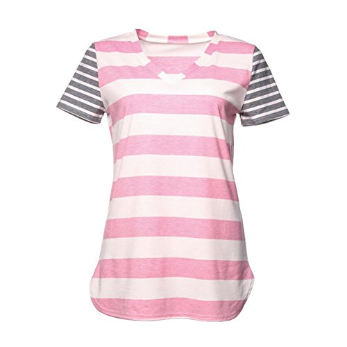 67ac4b03a85a Paymenow Women Summer Short Sleeve T Shirts Casual Striped Contrast Color V  Neck Beach Tops Blouse
