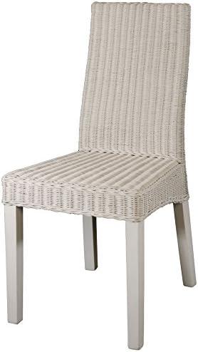 Korb Outlet Lot de 6 chaises de salle à manger modernes en rotin naturel sur cadre en bois solide Blanc
