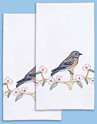 Bluebird Towel (Jack Dempsey Needle Art 320797 Bluebird Embroidery Towels, 17 inch x 28 inch, White)