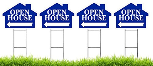 Open House - House Shaped Sign Kit with Stands - 4 Pack (Includes 4 signs and 4 stands) (Blue)