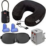 Neck Pillow Travel and Sleeping Kit, Includes Memory Foam Neck Pillow, International Adapter with USB, Eye Mask, Noise Canceling Ear Plugs, TSA Approved Luggage Lock,