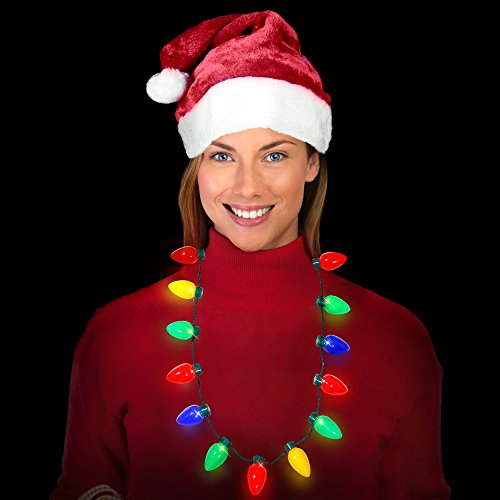 Ugly Sweater Christmas Party Kit - (2) Pack Plush Santa Hats + (2) Pack LED Christmas Necklace (Red Santa Hat + Necklace) by Windy City Novelties (Image #2)