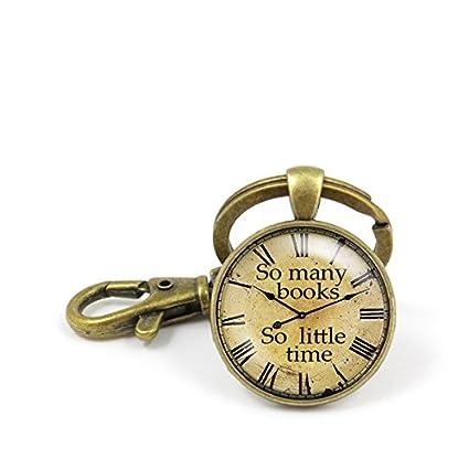 Tantos libros tan poco tiempo reloj llavero Cute antiguos ...