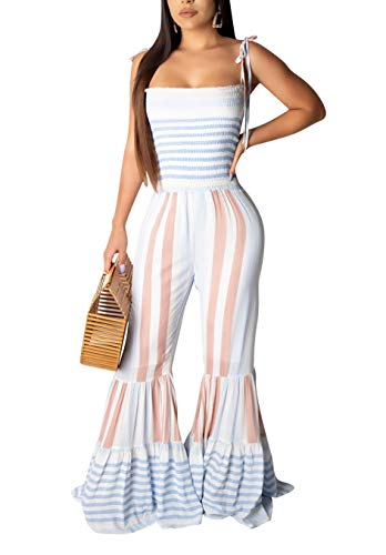 LKOUS Womens Summer Casual Jumpsuits Striped Bodycon Spaghetti Strap Sleeveless Long Flared Pants Romper One Piece Outfit ()