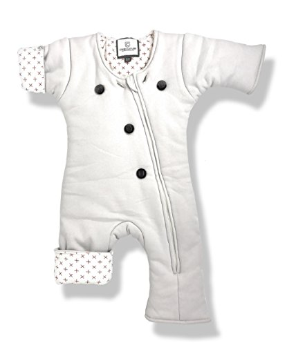 Helps Infants Transition from Swaddle: Sleepsuit/Wearable Blanket for Baby / 3-7 Months 12-21 lbs (Gray_Crosses) Sleep Suit by Amy Carinn Collection