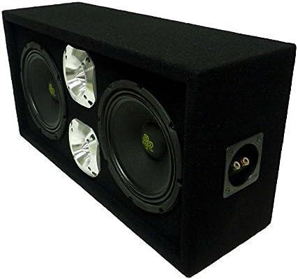 """Loaded 1300W Speaker Enclosure Box w 8/"""" Midrange Bullet Speakers /& 1.5/"""" Tweeters"""