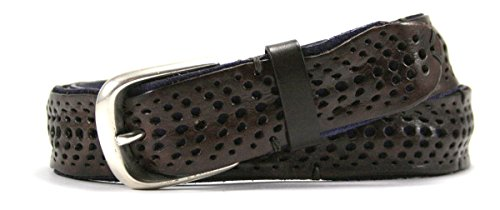 Leather Island 35mm Blue Italian Perforated Leather Belt