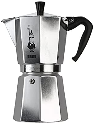 Bialetti Moka Express - Stove Top Espresso Coffee Maker - Aluminium with Acrylic Handle & Knob - Various Sizes
