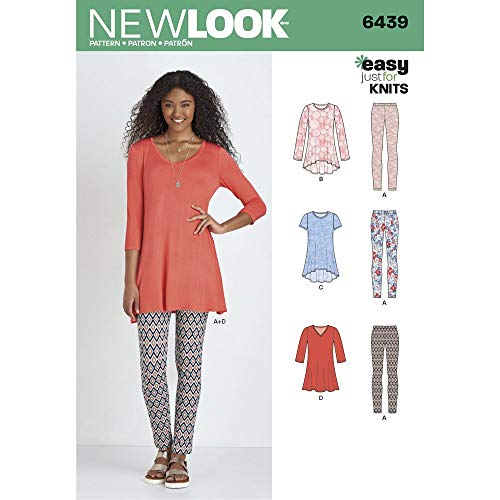 New Look Patterns Misses' Knit Tunics with Leggings Size A (XS-S-M-L-XL) 6439 (Best Looks With Leggings)
