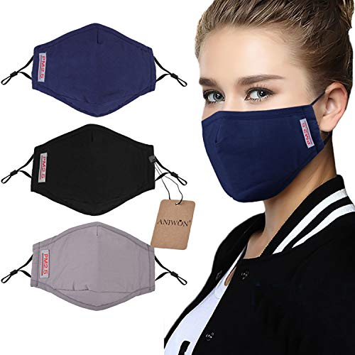 (Dust Mask,Aniwon 3 Pack Anti Dust Pollution Mask with 6 Pcs Activated Carbon Filter Insert Washable Cotton Mouth Mask with Adjustable Straps)