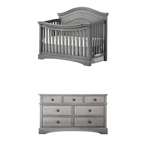 Evolur Windsor Curve Top Collection, Storm Grey with Double Drawers Dresser