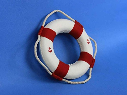 """Hampton Nautical  Classic White Decorative Anchor Life Ring with Bands Beach Home Decorating, 6"""", Red"""