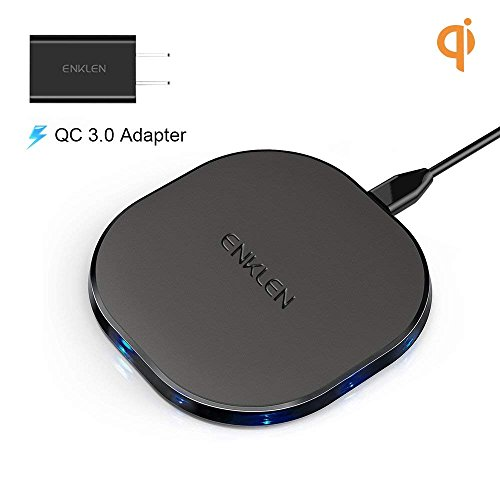 Wireless Charger, ENKLEN Qi-Certified 7.5W iPhone X Wireless Charger for iPhone X/8/8 Plus (with QC3.0 AC Adapter), 10W Fast Wireless Charger for Samsung Galaxy S9/S9+/S8/S8+/S7 Edge/NOTE 8/5