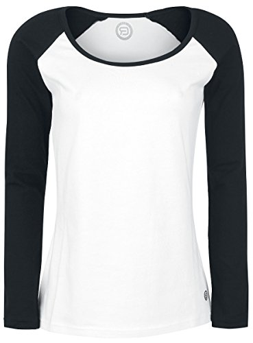 RED by EMP Raglan Ladies Tee Manica Lunga Donna Bianco XXL