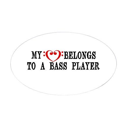 CafePress My Heart Belongs to a Bass Player Sticker Oval Bumper Sticker, Euro Oval Car Decal