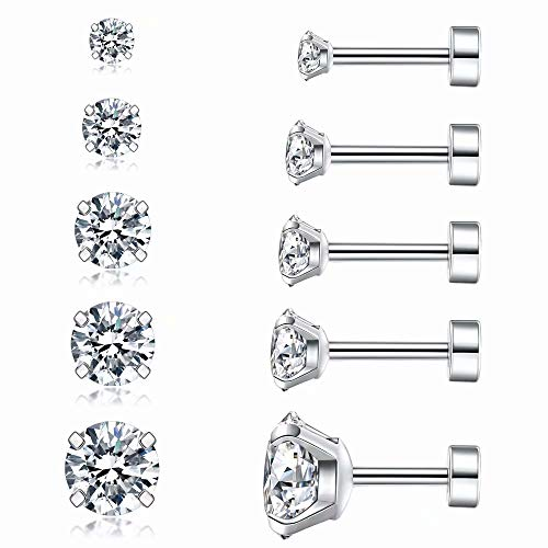 Cubic Zirconia Hypoallergenic Stud Earrings for Women Men Girls Statement Cartilage Fashion Surgical Steel Helix Earrings 5 Pairs