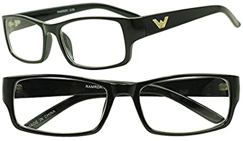Sunglass Stop - Negative Rx Strength Magnification Reading Eye Glasses -.50 -1.0 -1.50 -2.0 -2.50 -2.75 Readers Eyewear (Black | Gold, 2 - 2.0 Rx Eyewear