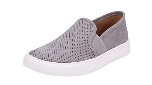 Sofree Women's Fashion Casual Slip-on Loafers Classic Sneakers (7.5, LT Grey)
