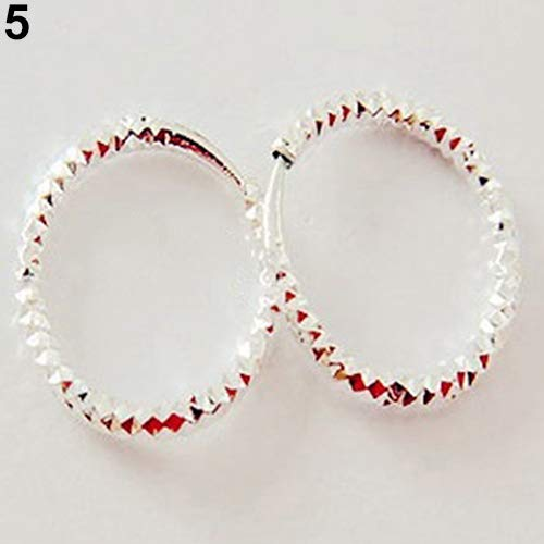 (Dds5391 New 1 Pair Simple Shiny Smooth Small Wave Big Wave Hoop Snap Closure Circle Earrings - 5)