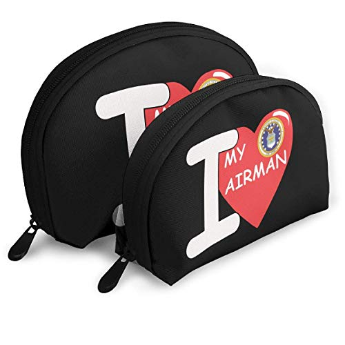 I LOVE MY AIRMAN Girls Holder Shell Makeup Pouch Storage Bag Toiletry Organizer