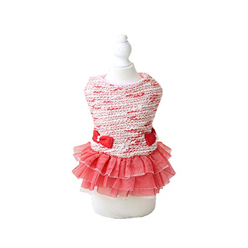 [Pet style Autumn Winter Cute Striped Dog Dresses Sweet Princess (L, Pink)] (Best College Halloween Outfits)