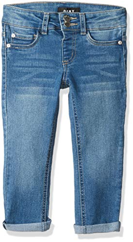 DKNY Girls' Big Double Stacked Waist Denim Jean, Blue Jay 7 ()
