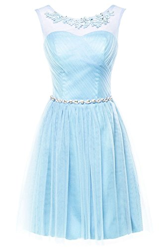 Erosebridal Short Bridesmaid Dress Lace Appliques Beads Evening Dress Size 2 Blue
