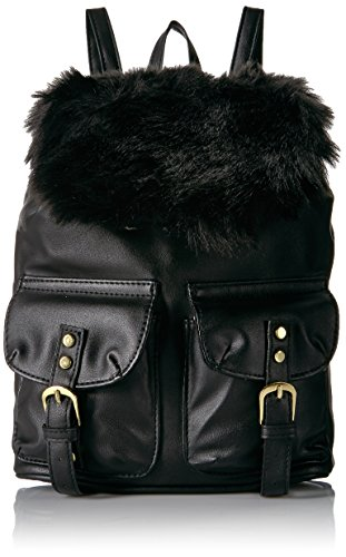 (T-Shirt & Jeans Small Back Pack with Faux Fur Flap, Black)