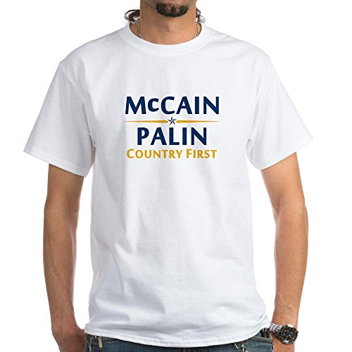 CafePress - Country First - McCain Palin White T-Shirt - 100% Cotton T-Shirt, Crew Neck, Comfortable and Soft Classic White Tee with Unique Design