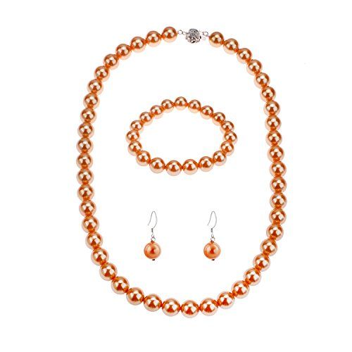 LUREME Fashion Style Pearl Elastic Necklace Bracelet Dangle Earring Set-Orange(09000649-3)