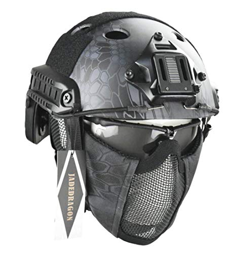(Jadedragon PJ Tactical Fast Helmet & Protect Ear Foldable Double Straps Half Face Mesh Mask & Goggle (Black Python Lines))