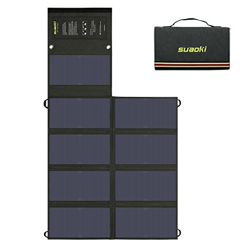 SUAOKI 60W Solar Charger (5V USB + 18V DC) Dual Output Mono-Crystalline Portable Folding Solar Panel with Battery Clamps and Car Charger for Laptop Tablet GPS Cellphone Car