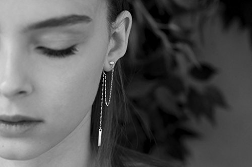 (Long Chains Earring, Handmade Designer Sterling Silver Double Sided Ear Jackets with Rectangular Stud, Connecting Chain From Front to Back and Dangling Bar)