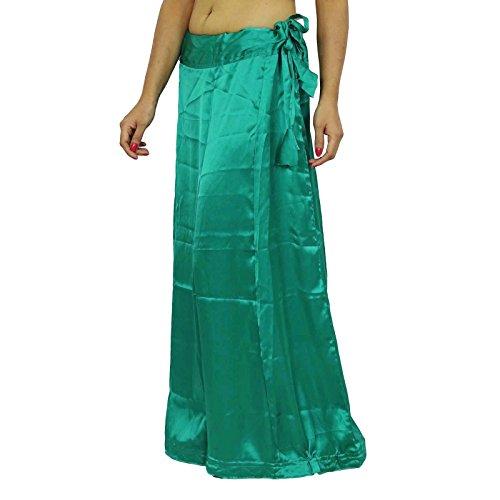 Satén de seda sari enaguas Bollywood indio Forro Para Sari Mar verde